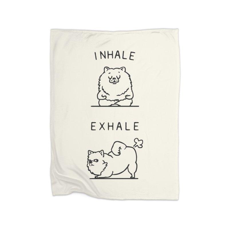 Inhale Exhale Pomeranian Home Blanket by huebucket's Artist Shop