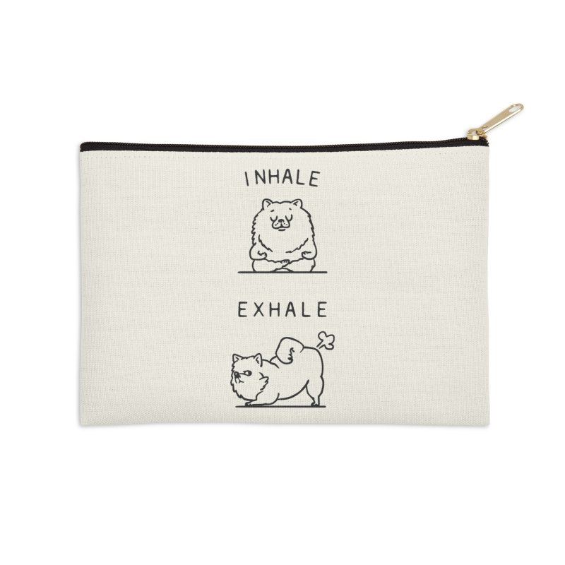 Inhale Exhale Pomeranian Accessories Zip Pouch by huebucket's Artist Shop