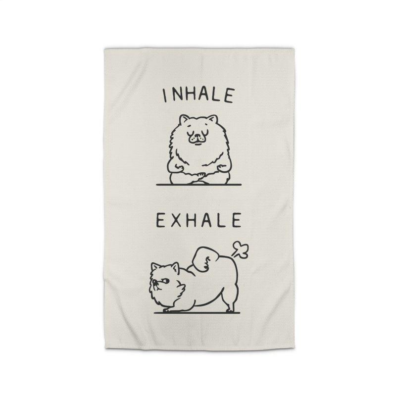 Inhale Exhale Pomeranian Home Rug by huebucket's Artist Shop