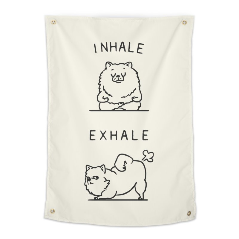 Inhale Exhale Pomeranian Home Tapestry by huebucket's Artist Shop