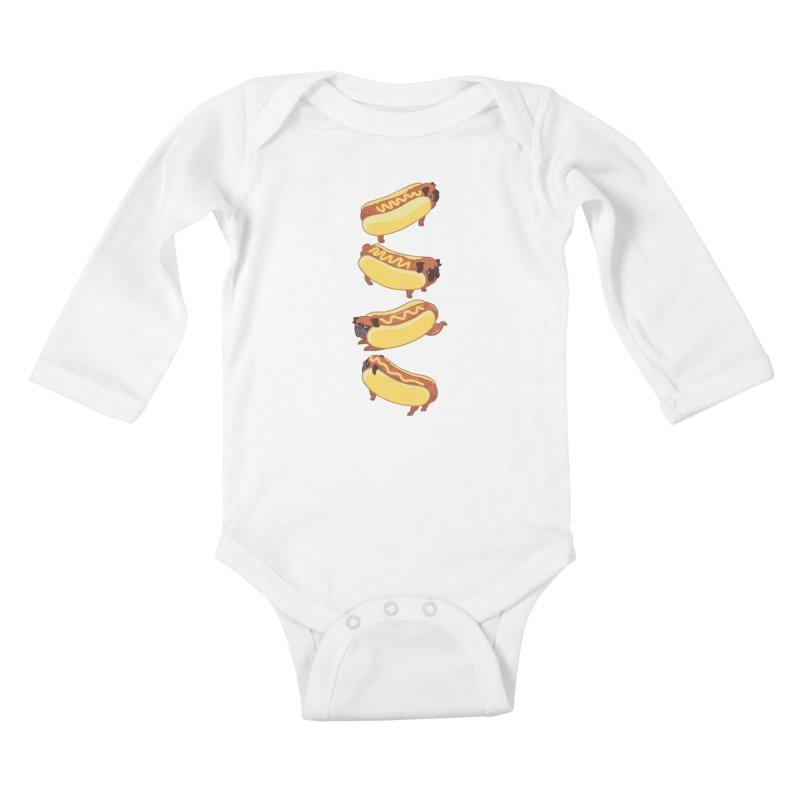 PUGS HOTDOG Kids Baby Longsleeve Bodysuit by huebucket's Artist Shop