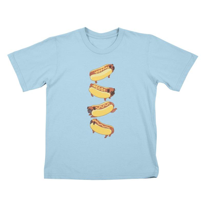 PUGS HOTDOG Kids T-shirt by huebucket's Artist Shop