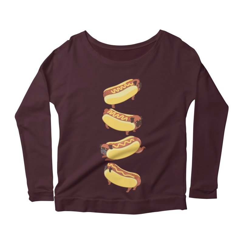 PUGS HOTDOG Women's Longsleeve Scoopneck  by huebucket's Artist Shop