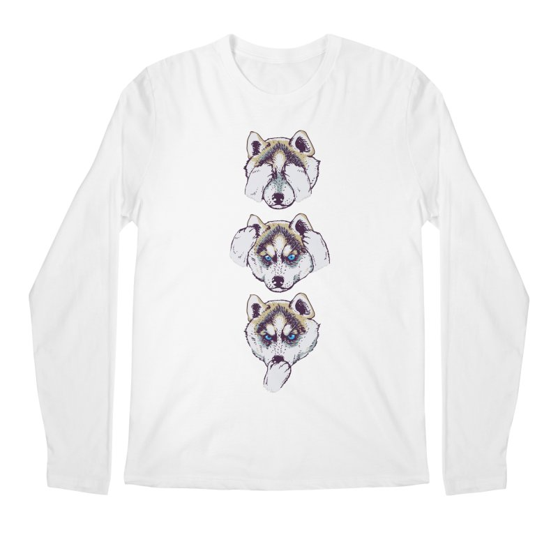 NO EVIL HUSKY Men's Longsleeve T-Shirt by huebucket's Artist Shop