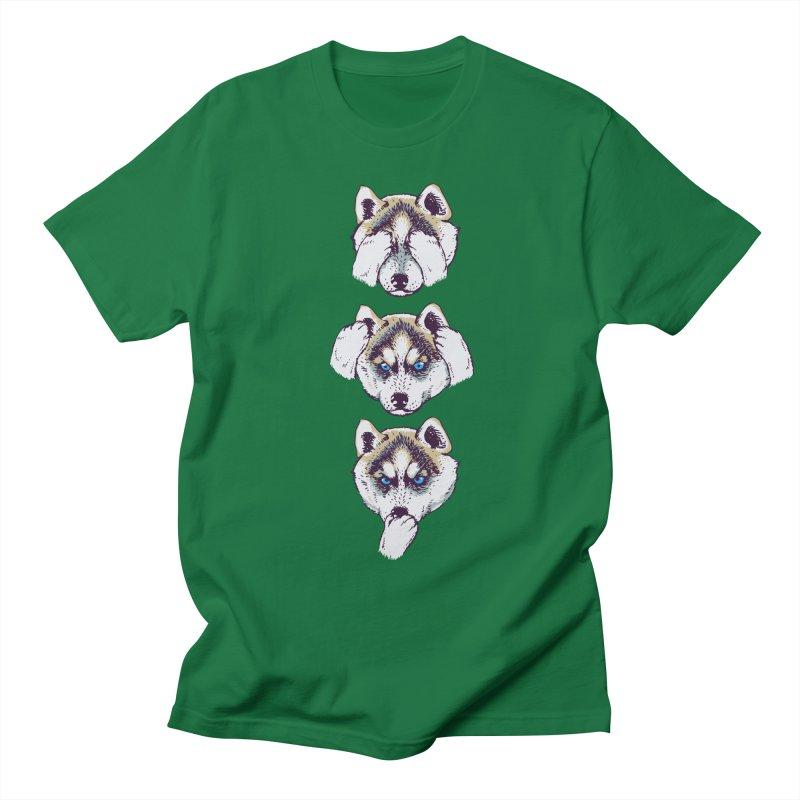 NO EVIL HUSKY Men's T-shirt by huebucket's Artist Shop
