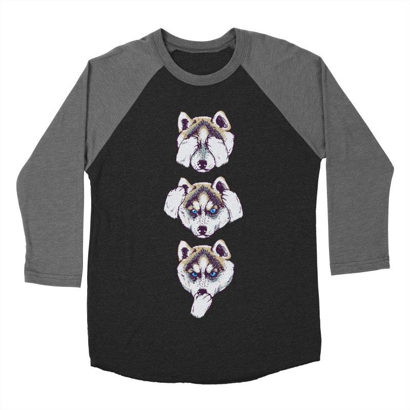 NO EVIL HUSKY Men's Baseball Triblend T-Shirt by huebucket's Artist Shop