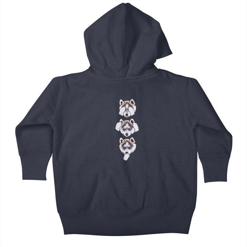 NO EVIL HUSKY Kids Baby Zip-Up Hoody by huebucket's Artist Shop