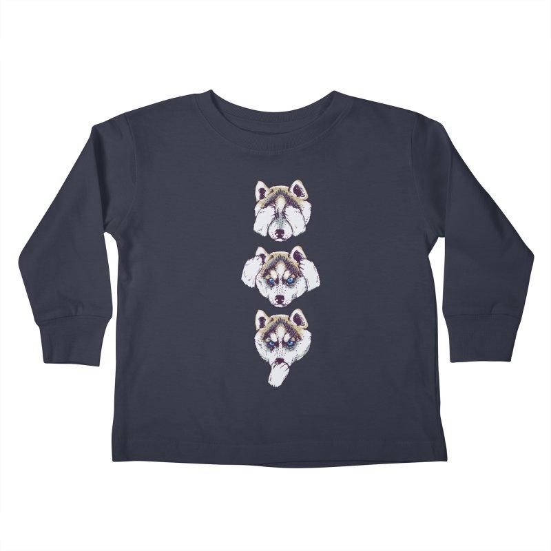 NO EVIL HUSKY Kids Toddler Longsleeve T-Shirt by huebucket's Artist Shop