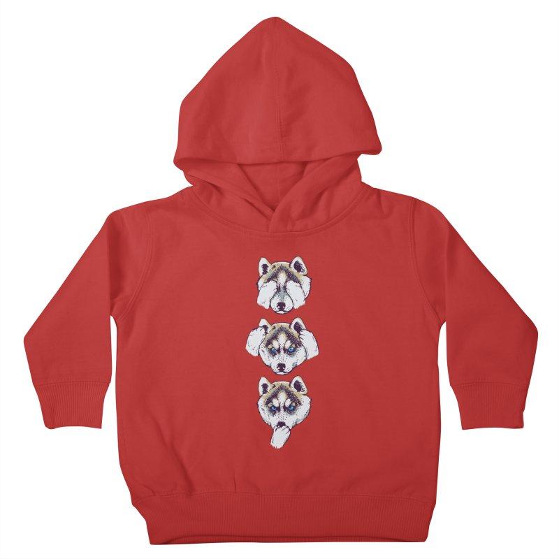 NO EVIL HUSKY Kids Toddler Pullover Hoody by huebucket's Artist Shop