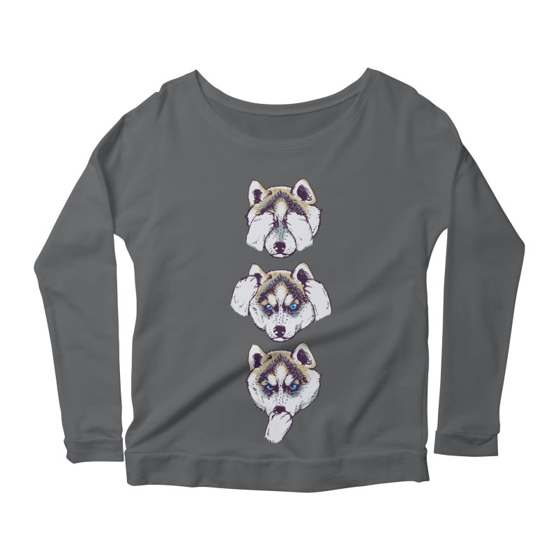 NO EVIL HUSKY Women's Longsleeve Scoopneck  by huebucket's Artist Shop