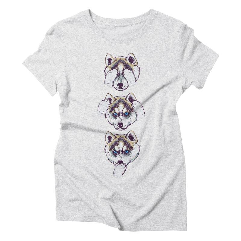 NO EVIL HUSKY Women's Triblend T-shirt by huebucket's Artist Shop