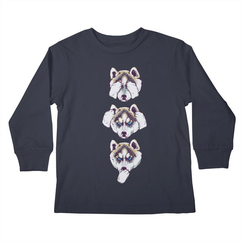 NO EVIL HUSKY Kids Longsleeve T-Shirt by huebucket's Artist Shop
