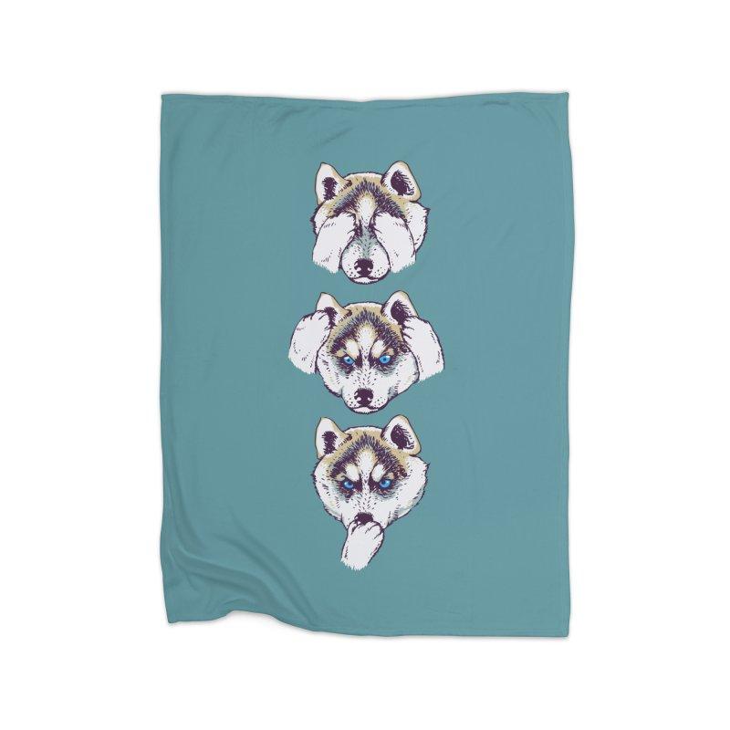 NO EVIL HUSKY Home Blanket by huebucket's Artist Shop