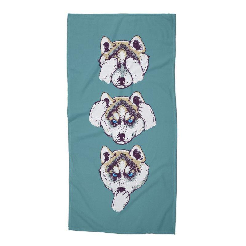 NO EVIL HUSKY Accessories Beach Towel by huebucket's Artist Shop