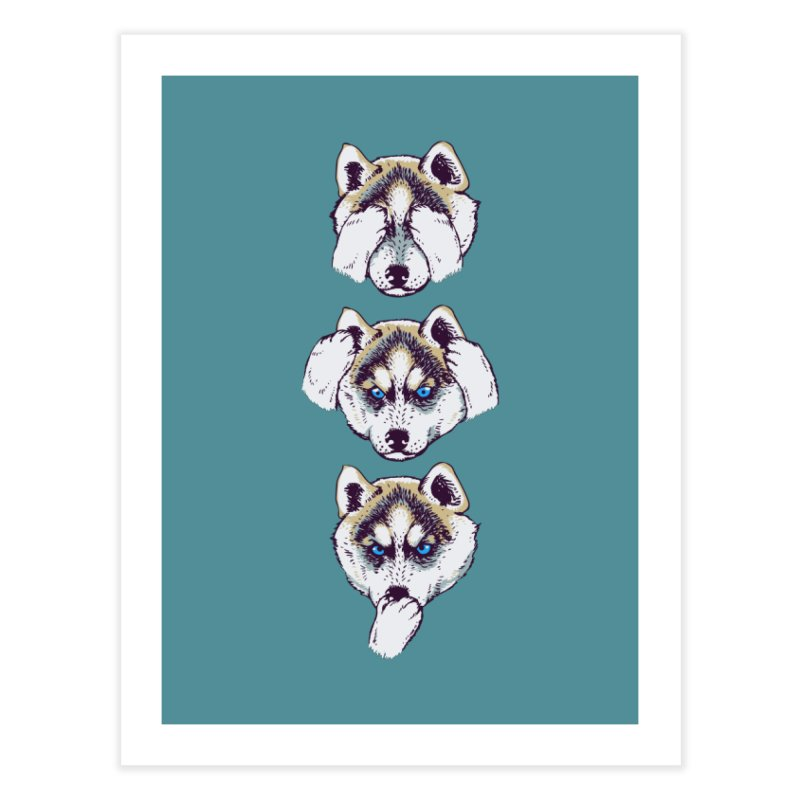 NO EVIL HUSKY Home Fine Art Print by huebucket's Artist Shop