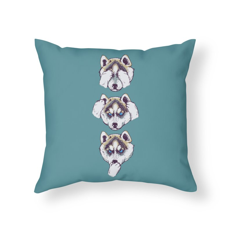 NO EVIL HUSKY Home Throw Pillow by huebucket's Artist Shop