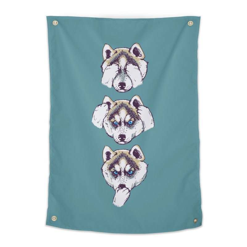 NO EVIL HUSKY Home Tapestry by huebucket's Artist Shop