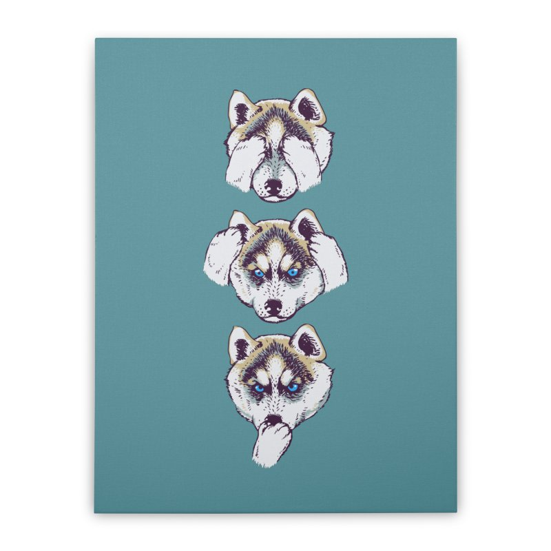 NO EVIL HUSKY Home Stretched Canvas by huebucket's Artist Shop
