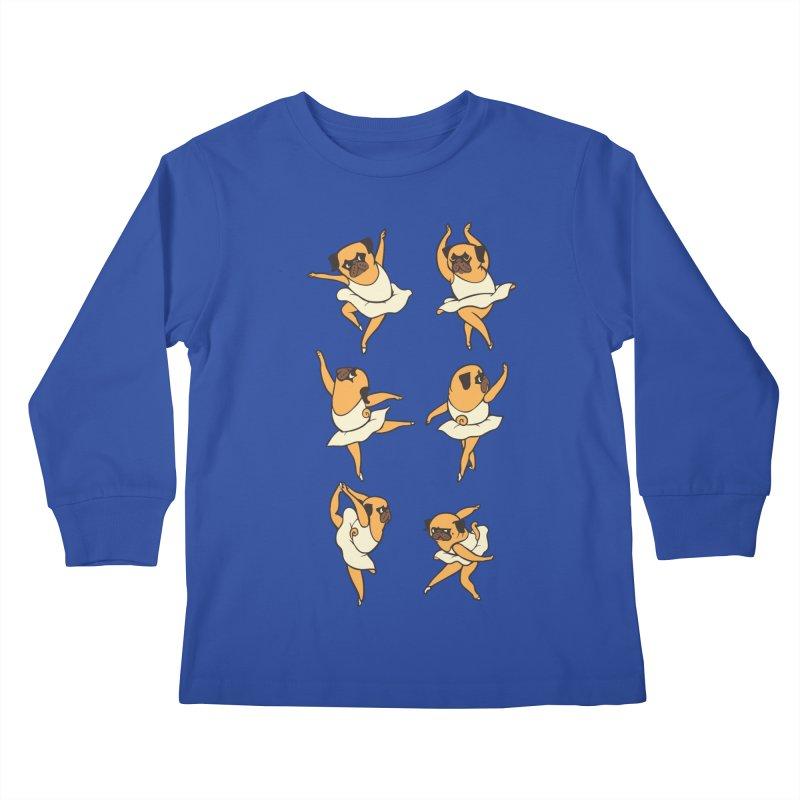 Ballet Pug Kids Longsleeve T-Shirt by huebucket's Artist Shop