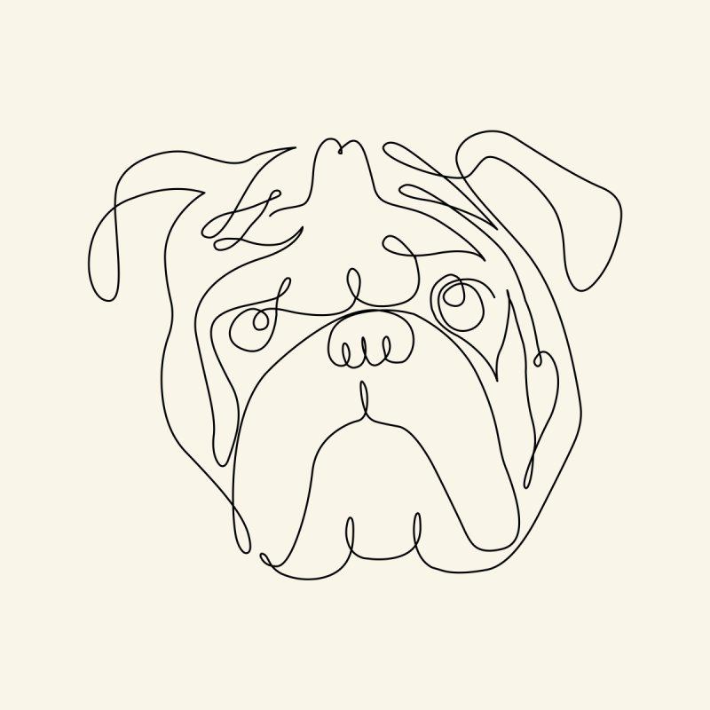 One Line English Bulldog None  by huebucket's Artist Shop
