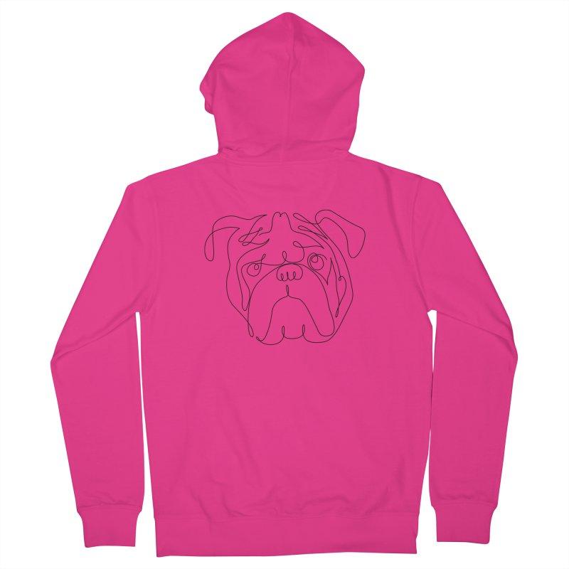 One Line English Bulldog Men's Zip-Up Hoody by huebucket's Artist Shop