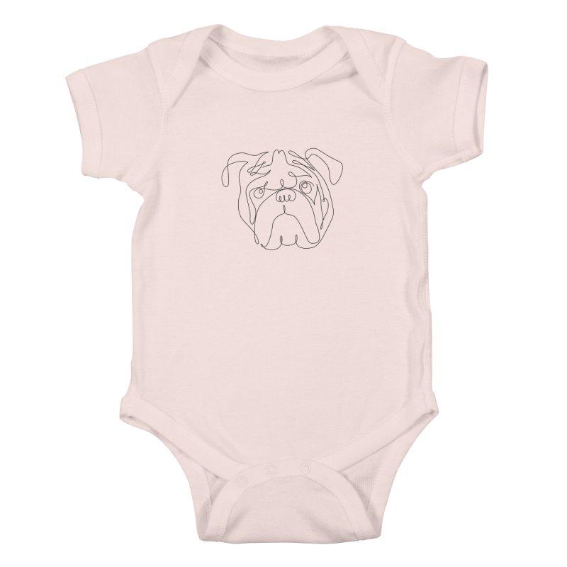 One Line English Bulldog Kids Baby Bodysuit by huebucket's Artist Shop