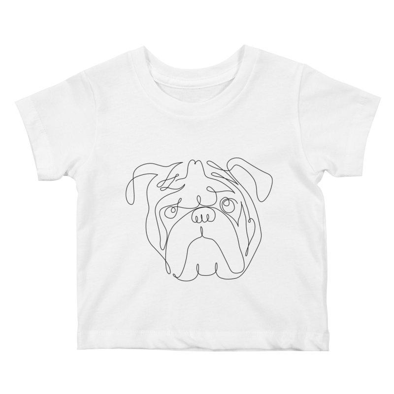 One Line English Bulldog Kids Baby T-Shirt by huebucket's Artist Shop