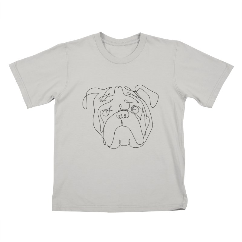 One Line English Bulldog Kids T-shirt by huebucket's Artist Shop
