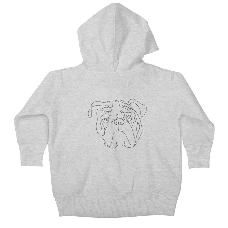 One Line English Bulldog Kids Baby Zip-Up Hoody by huebucket's Artist Shop