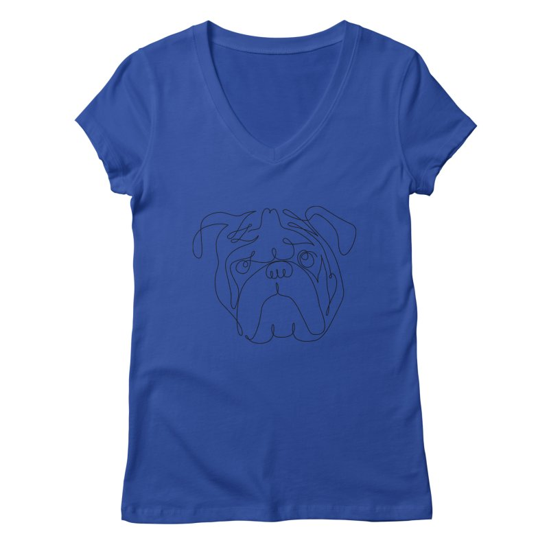 One Line English Bulldog Women's V-Neck by huebucket's Artist Shop