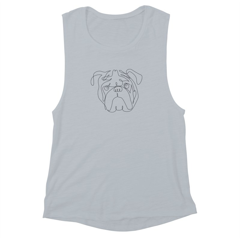 One Line English Bulldog Women's Muscle Tank by huebucket's Artist Shop