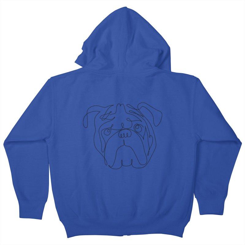One Line English Bulldog Kids Zip-Up Hoody by huebucket's Artist Shop