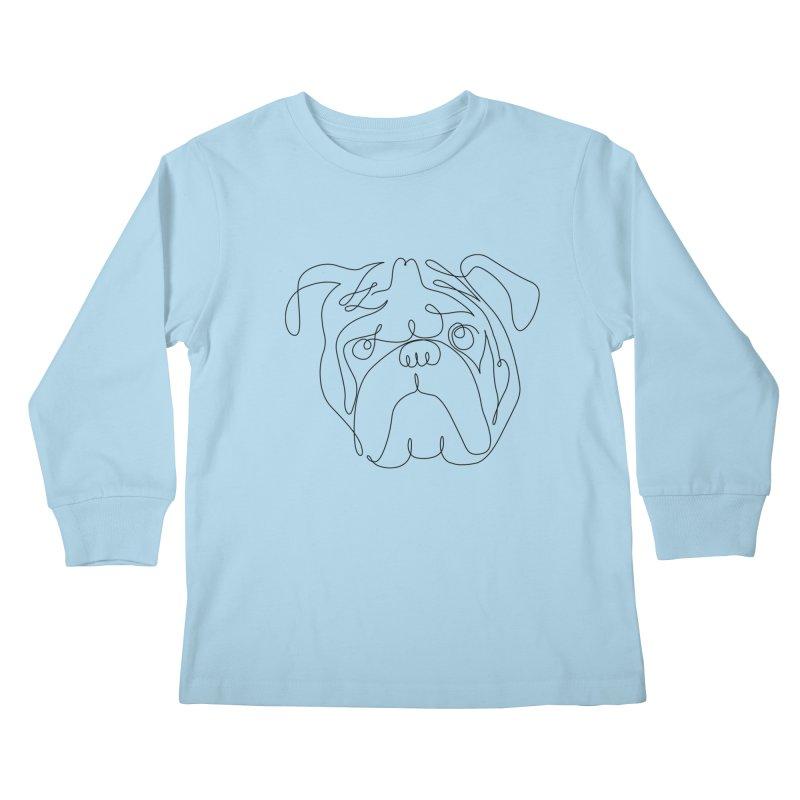 One Line English Bulldog Kids Longsleeve T-Shirt by huebucket's Artist Shop
