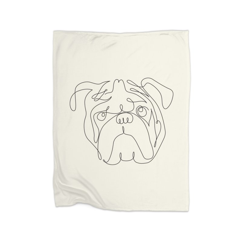 One Line English Bulldog Home Blanket by huebucket's Artist Shop