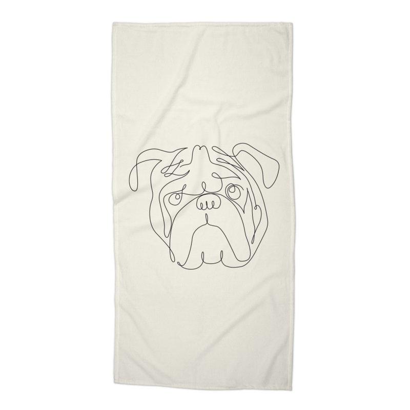 One Line English Bulldog Accessories Beach Towel by huebucket's Artist Shop