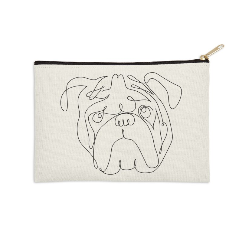 One Line English Bulldog Accessories Zip Pouch by huebucket's Artist Shop