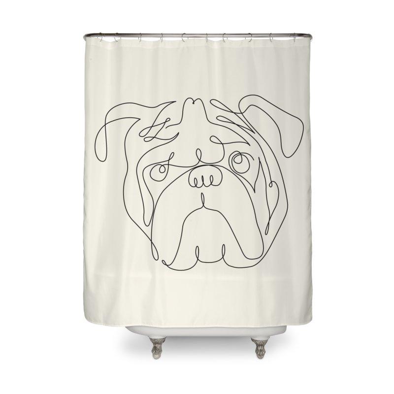 One Line English Bulldog Home Shower Curtain by huebucket's Artist Shop