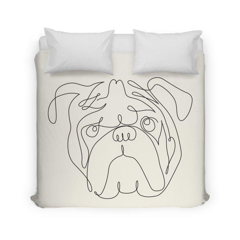 One Line English Bulldog Home Duvet by huebucket's Artist Shop