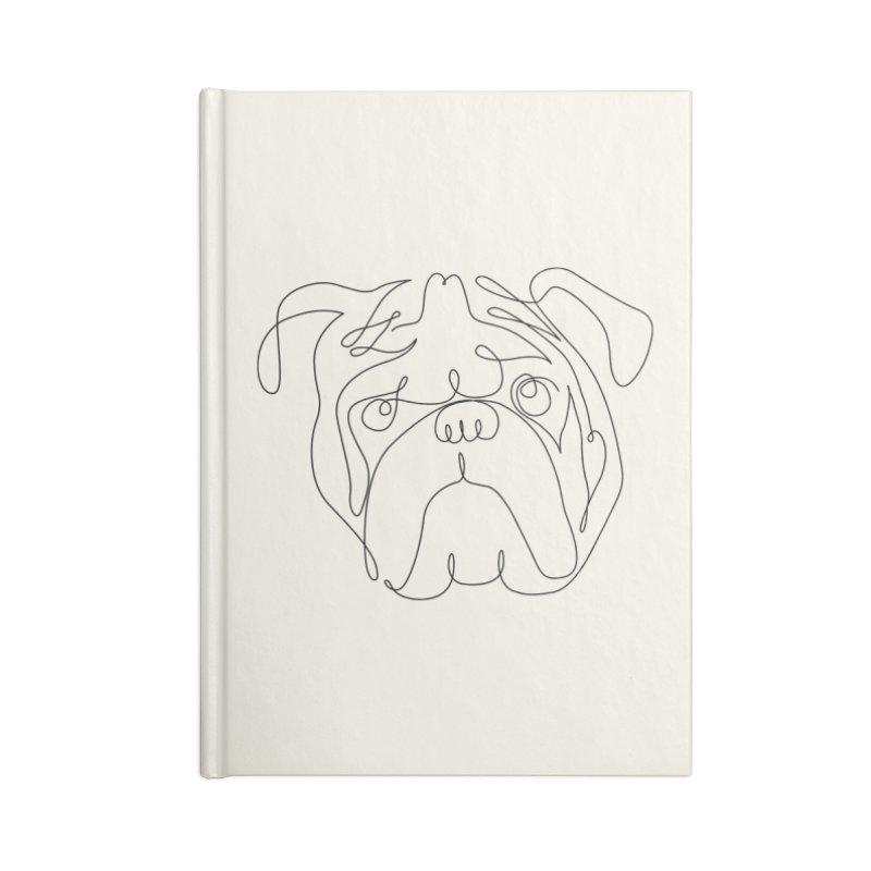 One Line English Bulldog Accessories Notebook by huebucket's Artist Shop