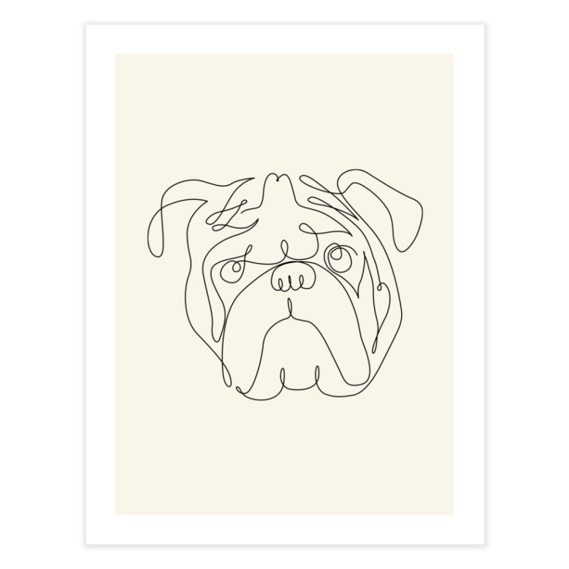 One Line English Bulldog Home Fine Art Print by huebucket's Artist Shop