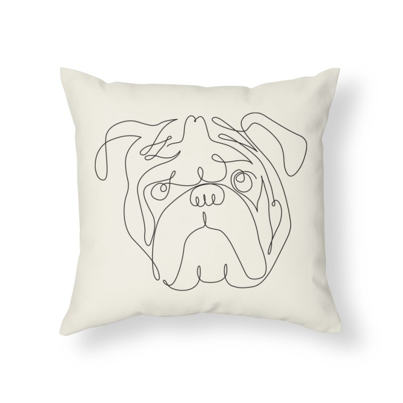 One Line English Bulldog Home Throw Pillow by huebucket's Artist Shop