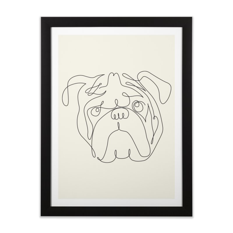 One Line English Bulldog Home Framed Fine Art Print by huebucket's Artist Shop