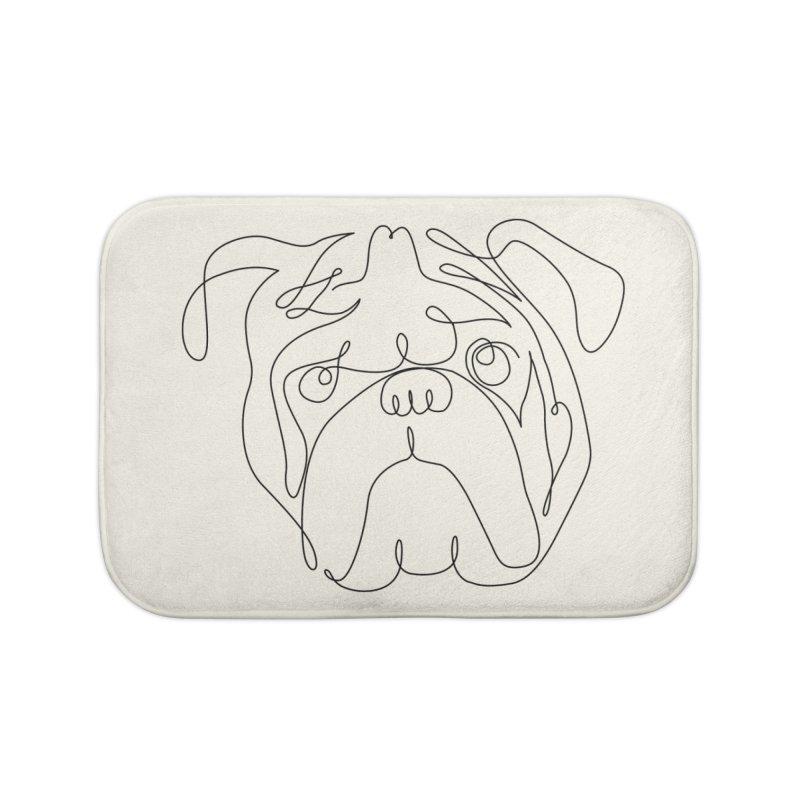 One Line English Bulldog Home Bath Mat by huebucket's Artist Shop