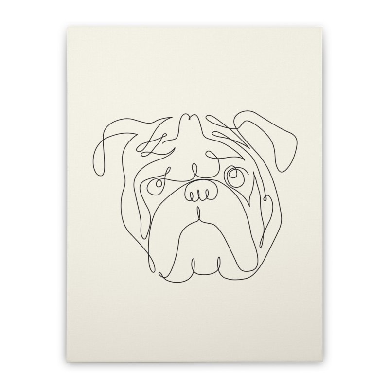 One Line English Bulldog Home Stretched Canvas by huebucket's Artist Shop