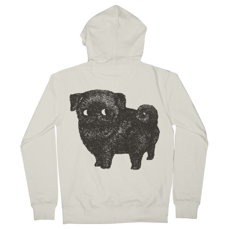 Black Pug  Women's Zip-Up Hoody by huebucket's Artist Shop