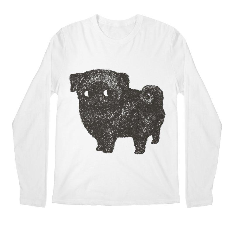 Black Pug  Men's Longsleeve T-Shirt by huebucket's Artist Shop