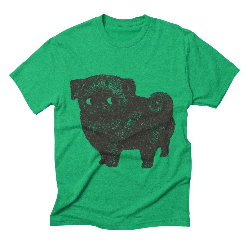 Black Pug  Men's Triblend T-Shirt by huebucket's Artist Shop