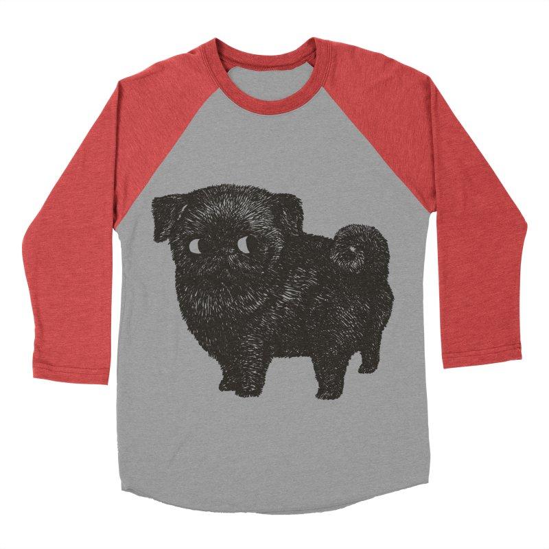Black Pug  Women's Baseball Triblend T-Shirt by huebucket's Artist Shop