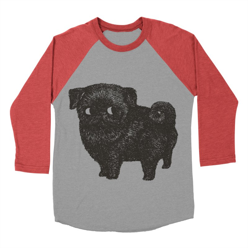 Black Pug  Men's Baseball Triblend T-Shirt by huebucket's Artist Shop