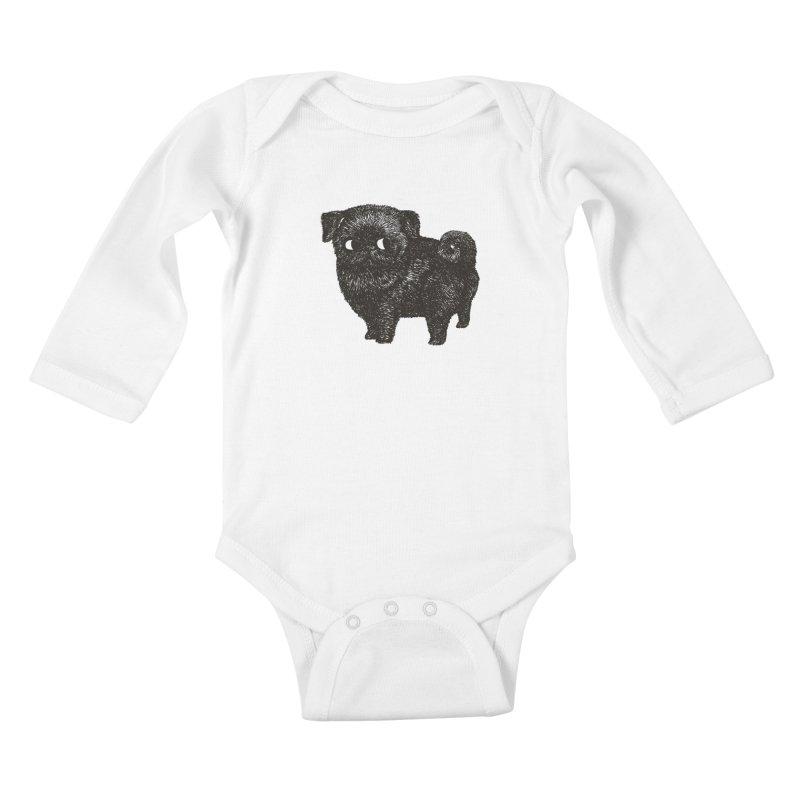 Black Pug  Kids Baby Longsleeve Bodysuit by huebucket's Artist Shop